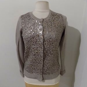 ANN TAYLOR Taupe Cardigan Sweater with Sequins, Sm